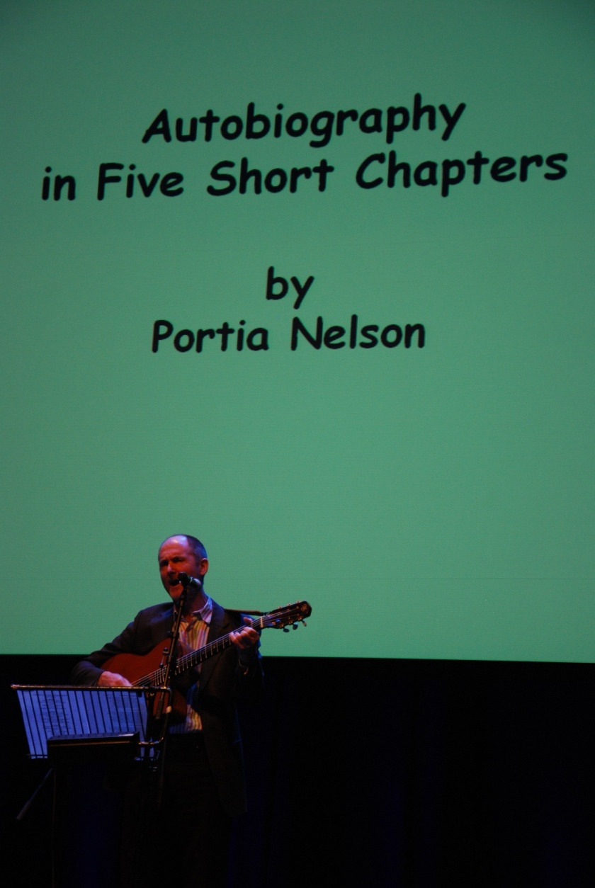 an analysis of portia nelsons poem autobiography in five short chapters 109: autobiography in five short chapters: portia nelson i often don't like poems like this for no reason other than i am insecure in my ability to judge poetic worth on many levels and so i trust the canon (don't tell me to trust my gut i have higher standards.